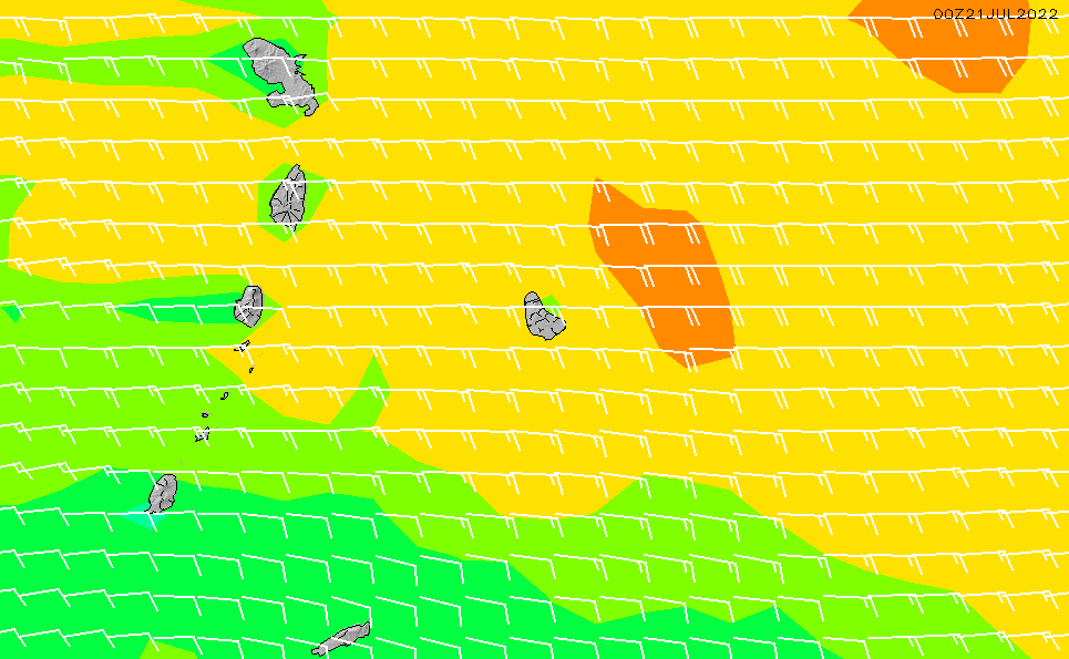 2020/9/21(月)22:00風速・風向
