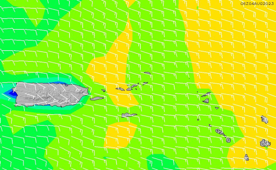 2021/8/1(日)22:00風速・風向