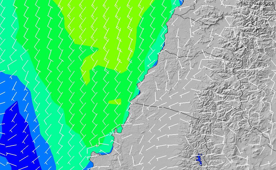 2021/10/23(土)3:00風速・風向