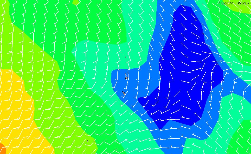 2020/1/27(月)21:00風速・風向