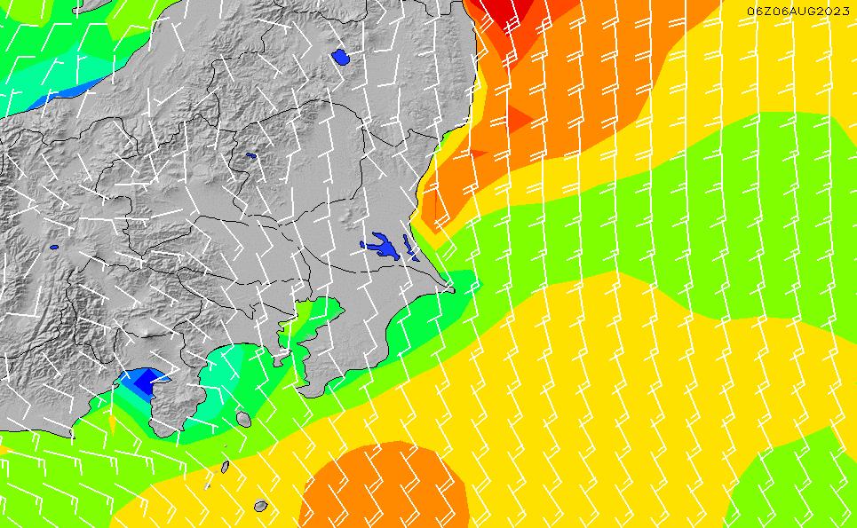2020/8/16(日)21:00風速・風向