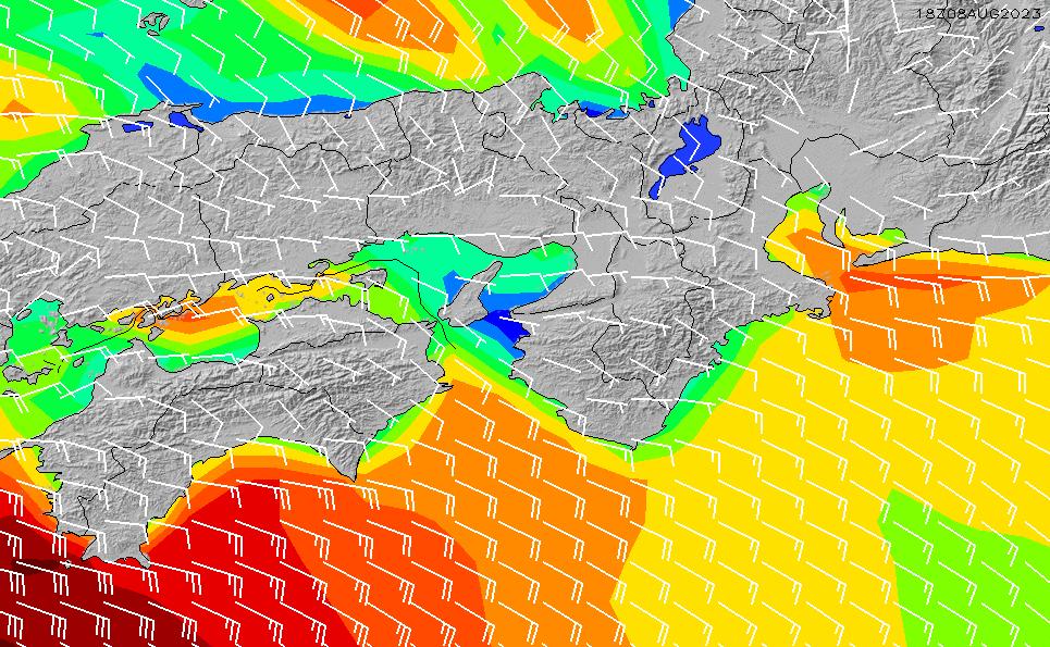 2021/5/10(月)21:00風速・風向