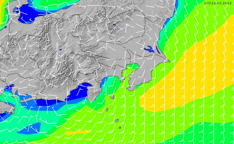2021/1/22(金)15:00風速・風向