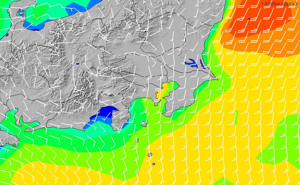 2020/3/29(日)21:00風速・風向
