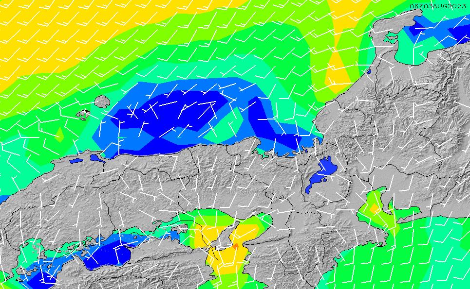 2020/1/24(金)21:00風速・風向