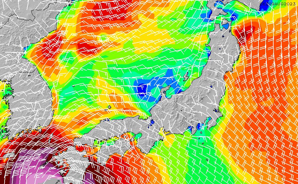 2020/2/17(月)21:00風速・風向