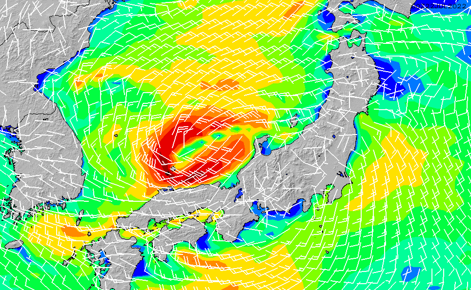 2020/2/21(金)9:00風速・風向
