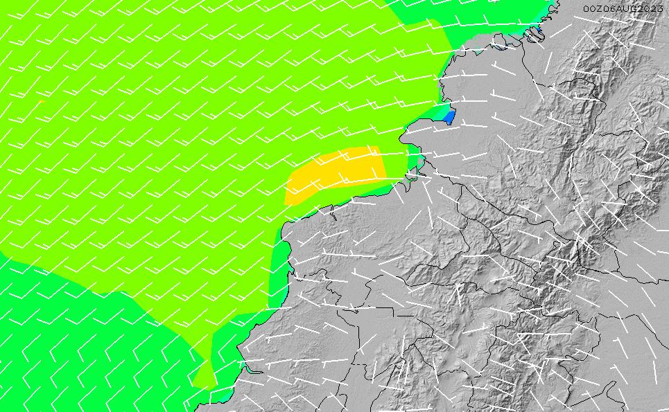 2020/10/1(木)5:00風速・風向