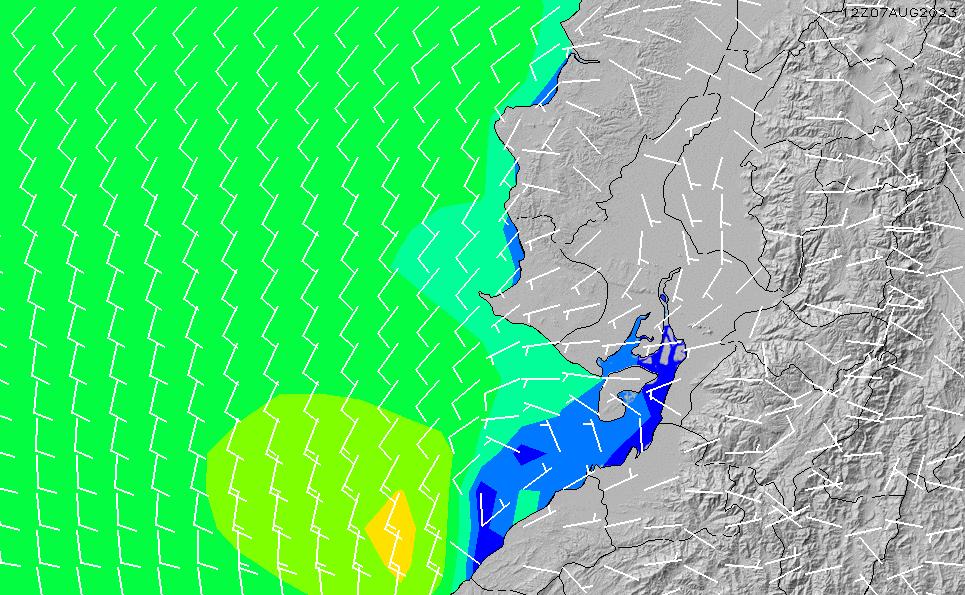 2021/3/6(土)23:00風速・風向