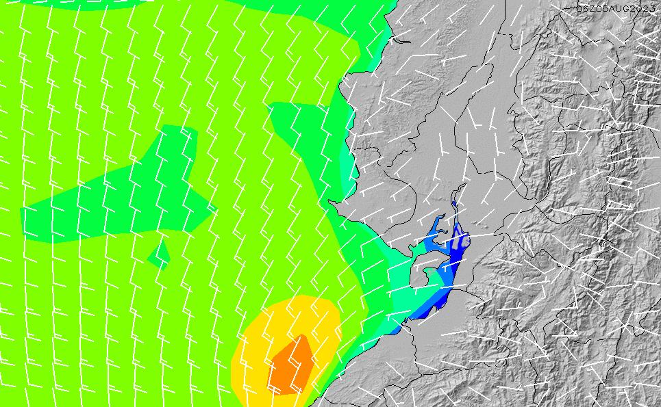 2021/2/28(日)5:00風速・風向