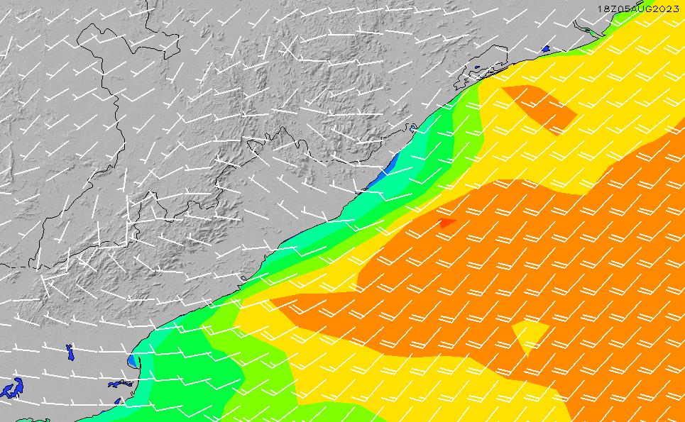 2020/9/21(月)17:00風速・風向