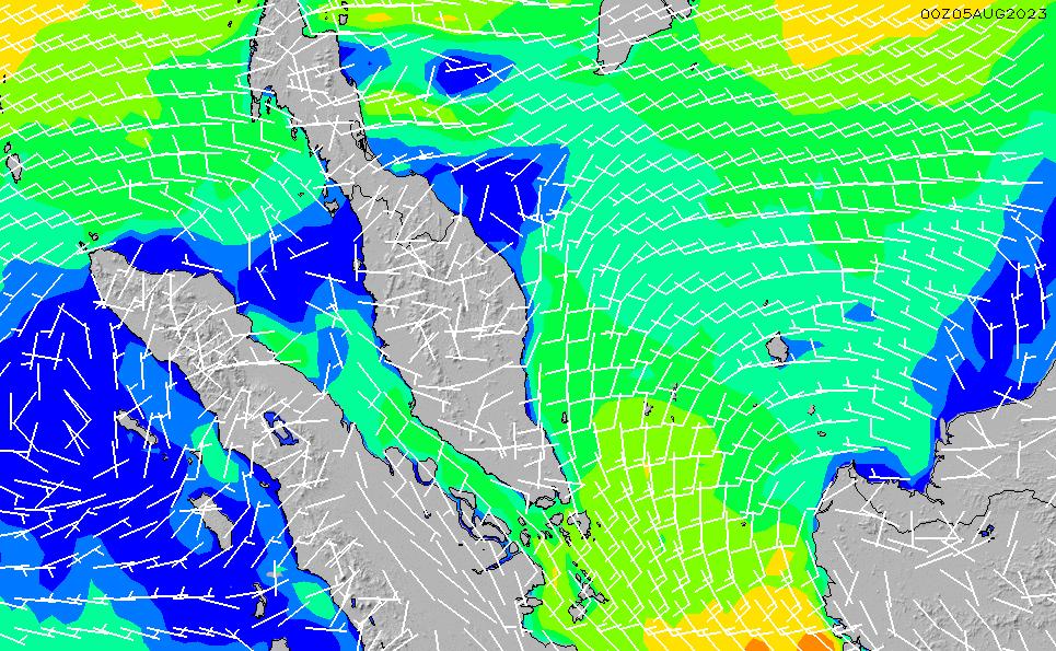 2020/3/29(日)14:00風速・風向