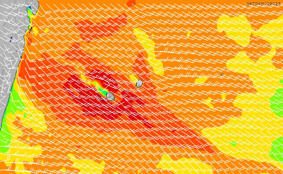2021/10/23(土)16:00風速・風向