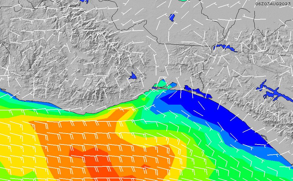 2021/3/2(火)6:00風速・風向