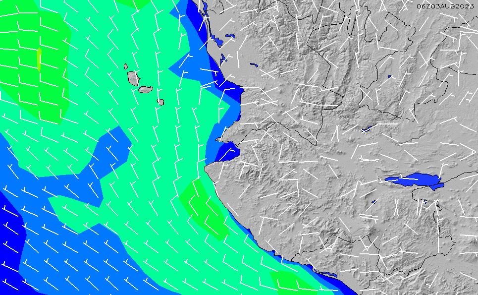 2021/2/28(日)6:00風速・風向