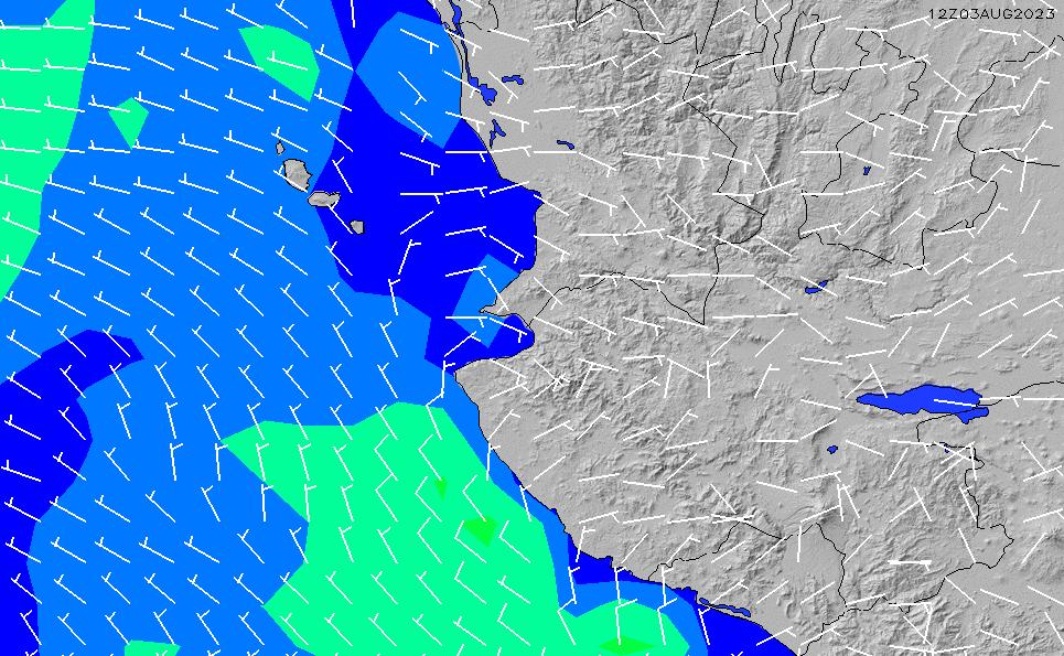 2021/2/28(日)12:00風速・風向
