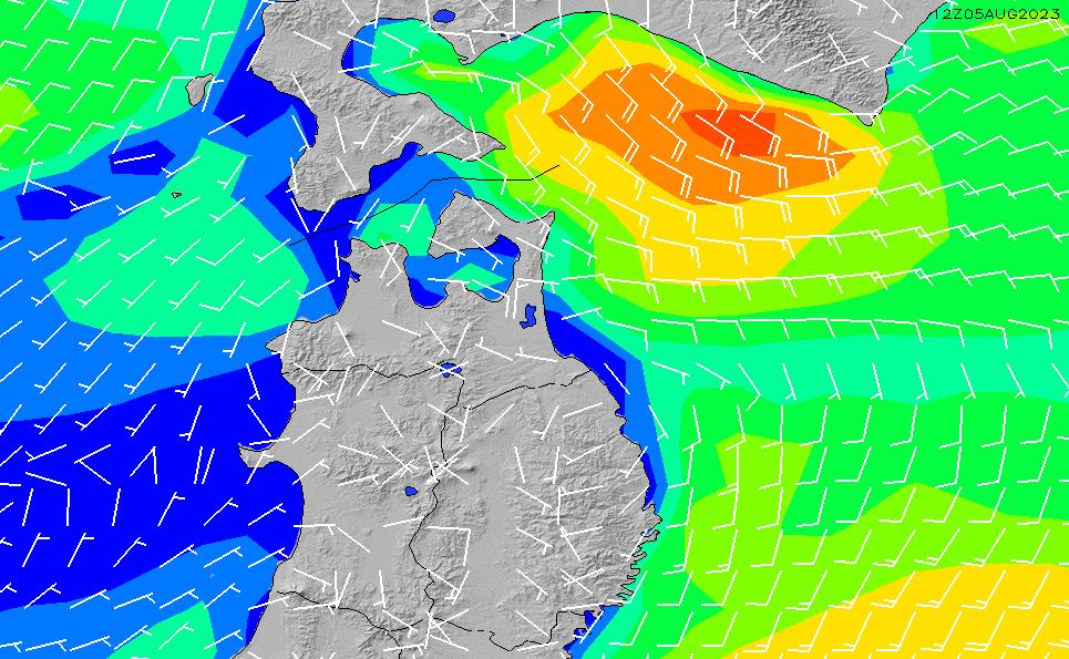 2021/10/25(月)21:00風速・風向