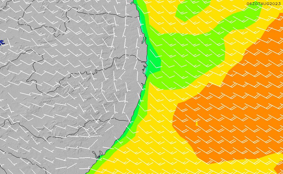 2021/3/6(土)3:00風速・風向