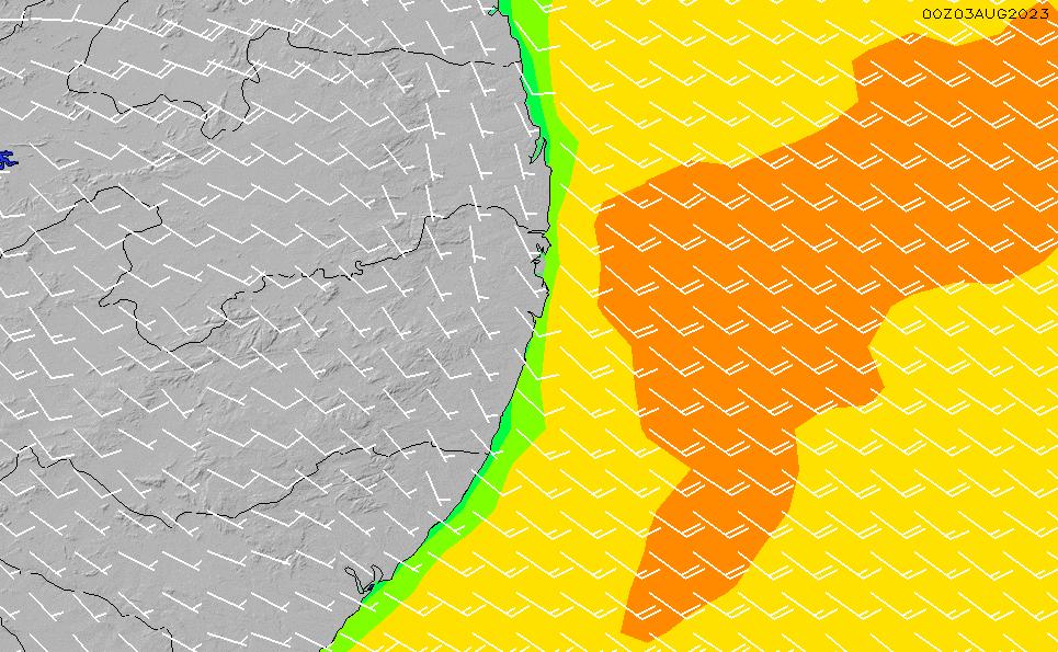 2021/10/23(土)9:00風速・風向