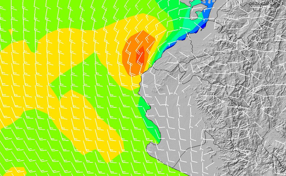 2020/9/28(月)5:00風速・風向