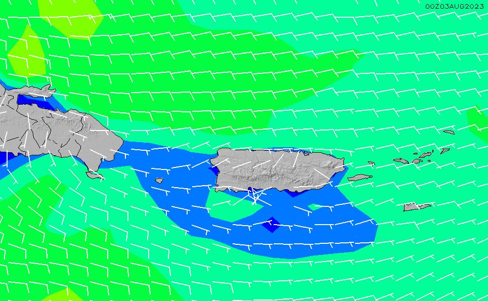 2021/1/22(金)10:00風速・風向