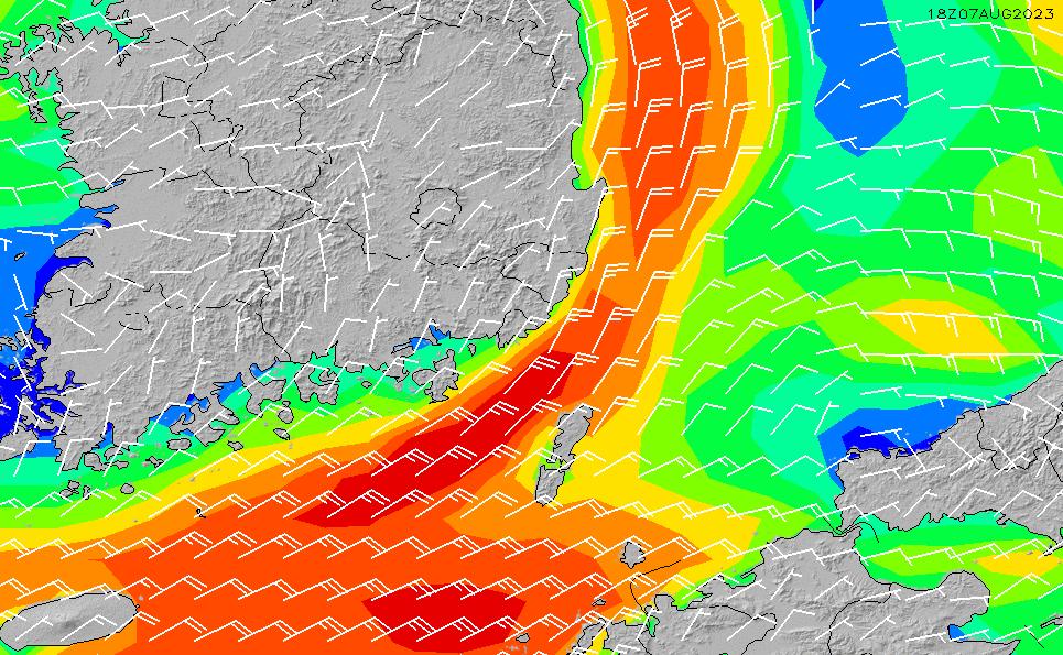 2021/3/3(水)21:00風速・風向