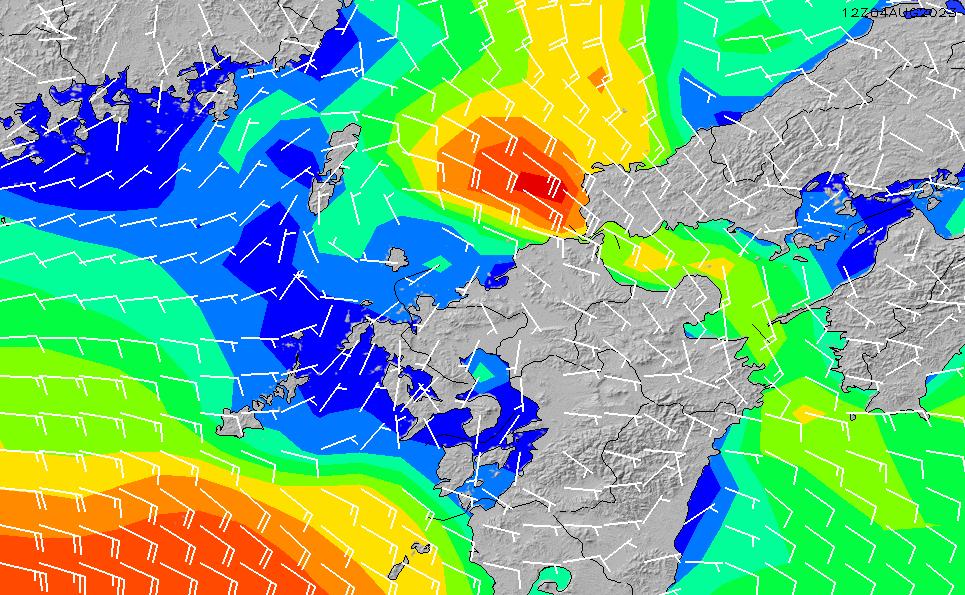 2020/1/29(水)9:00風速・風向