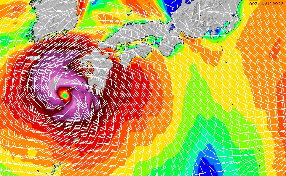 2021/1/21(木)21:00風速・風向