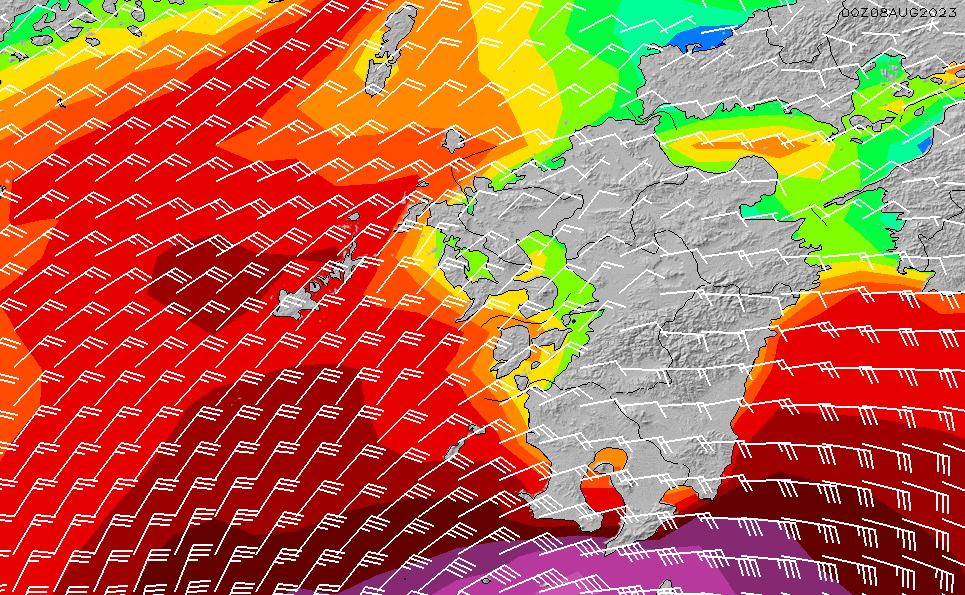 2021/2/25(木)21:00風速・風向
