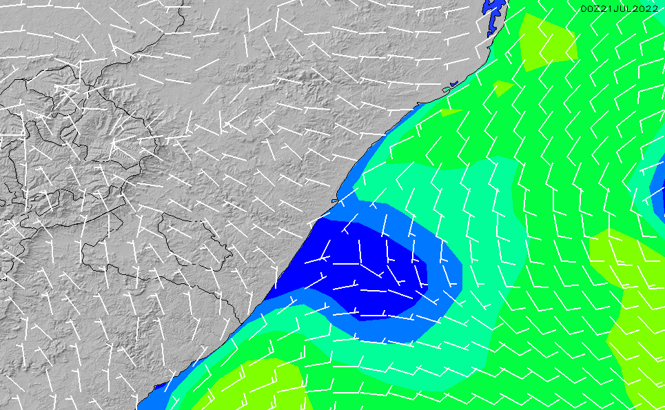 2020/9/22(火)8:00風速・風向