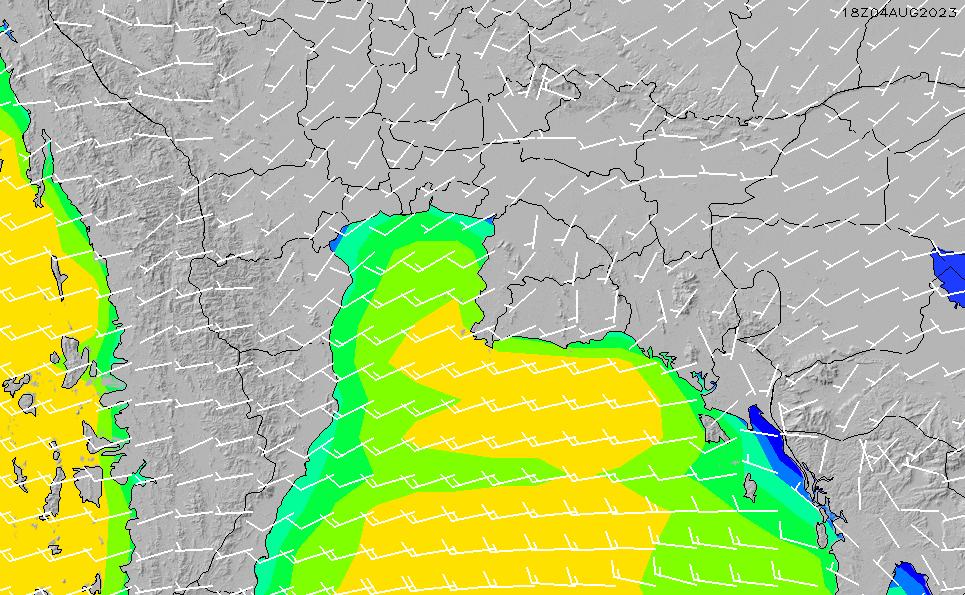 2020/3/29(日)13:00風速・風向