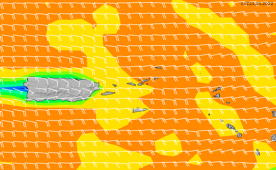 2021/6/25(金)8:00風速・風向