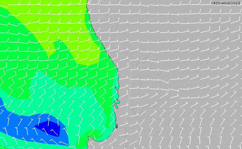 2021/2/28(日)8:00風速・風向
